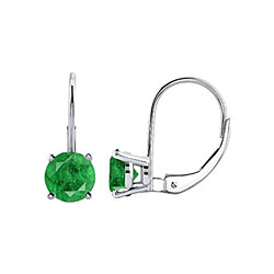 2.00 CTTW Genuine Emerald Round Cut Leverback Earrings