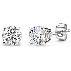 2.00 CTTW Round Cut Swarovski Elements Crystal Studs