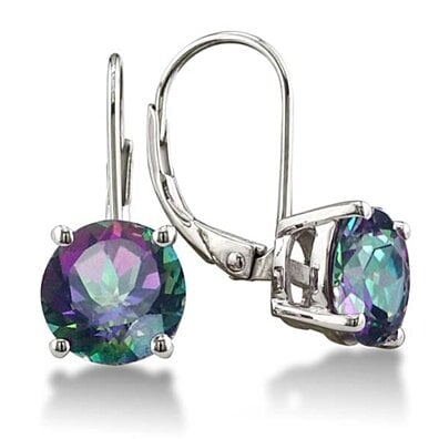 3.50 CTTW Genuine Mystic Topaz Leverback Earrings in Solid Sterling Silver