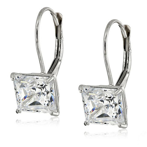2.50 CTTW Princess Cut Swarovski Elements Crystal Leverback Earrings