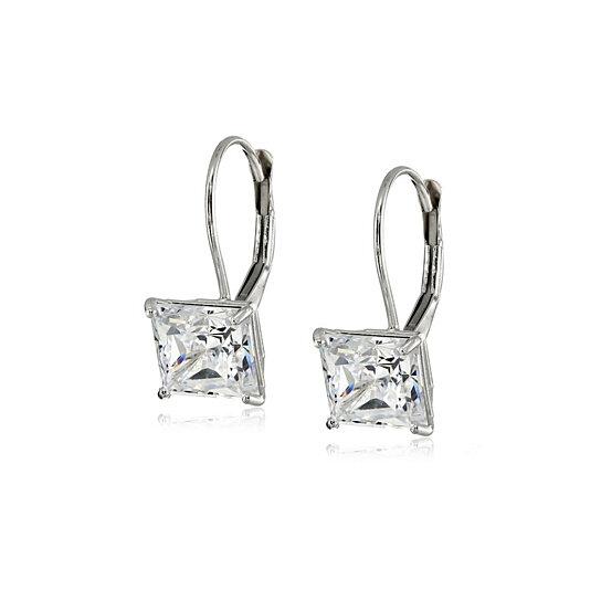 6190f6765 2 50 Cttw Princess Cut Swarovski Elements Crystal Leverback. 5 00 Cttw  Sterling Silver Earrings ...