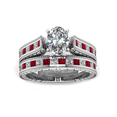 2 piece 2.5 Cttw Simulated Ruby Ring and Band Set