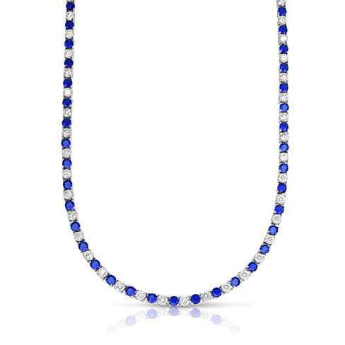 22.00 CTTW Sapphire And White SImulated Diamond Tennis Necklace in 18K White Gold