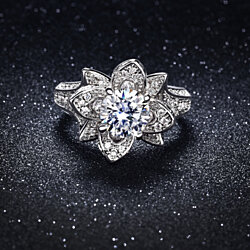 3.00 CTTW Pave Flower Ring in 18k White Gold