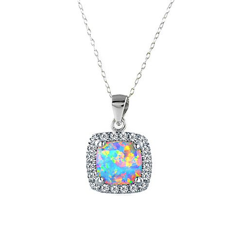 3.50 CTTW Opal Cushion Cut Halo Necklace
