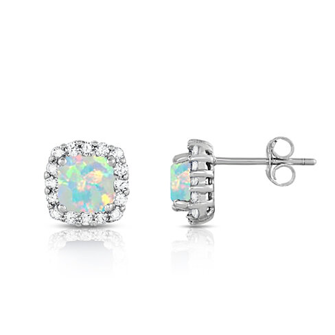 3.50 CTTW Opal Studs with CZ Halo in Sterling Silver