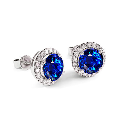 3.50cttw Sapphire Halo Stud In Sterling Silver