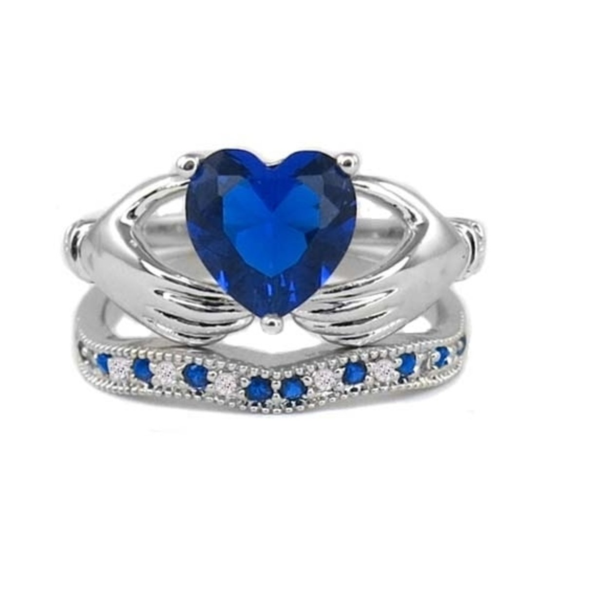 3.50cttw Sapphire Heart Cut Claddagh Ring And Band Set 6