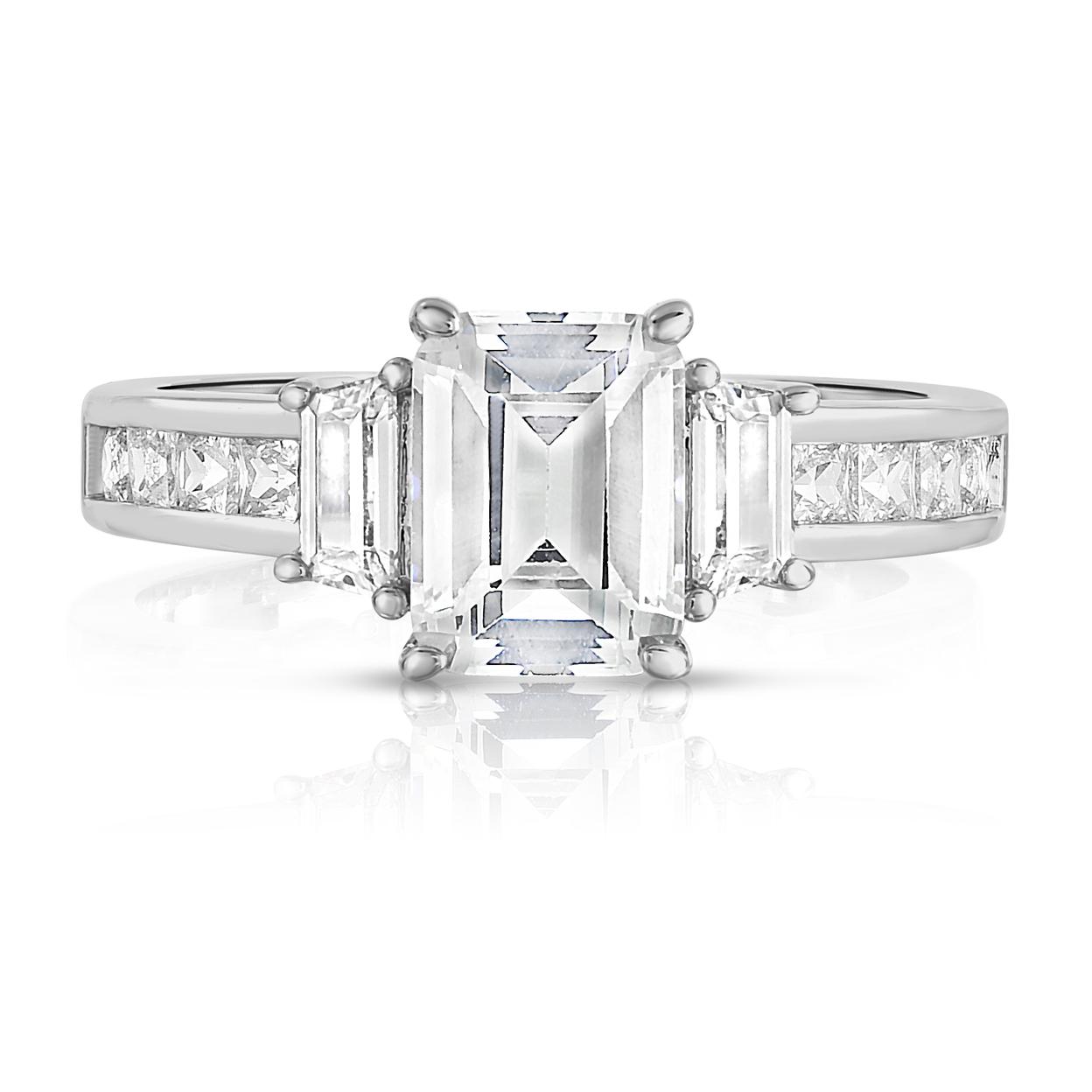 3.50cttw Tri Stone Emerald Cut Bridal Ring 6