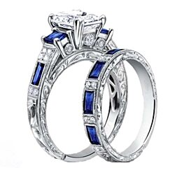 18k White Gold Emerald Cut Sapphire Ring & Band Set