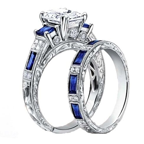 4.00 cttw Emerald Cut Sapphire Ring and Band Set