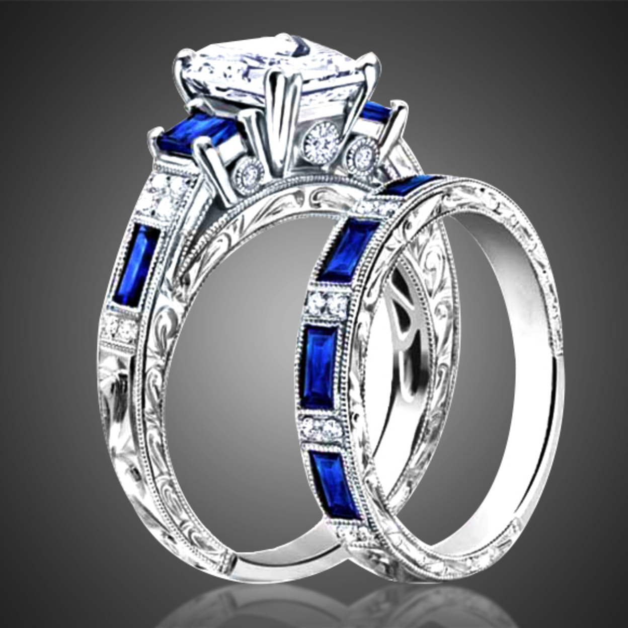 4.00 Cttw Emerald Cut Sapphire Ring And Band Set 6