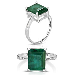 Sterling Silver Emerald Ring With Pave Accent