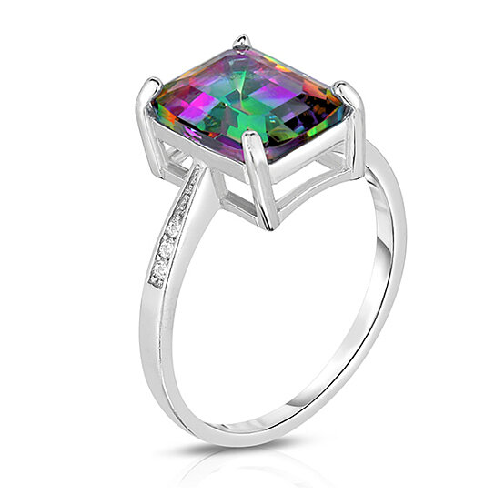 buy 4 00 cttw genuine mystic topaz emerald cut ring by