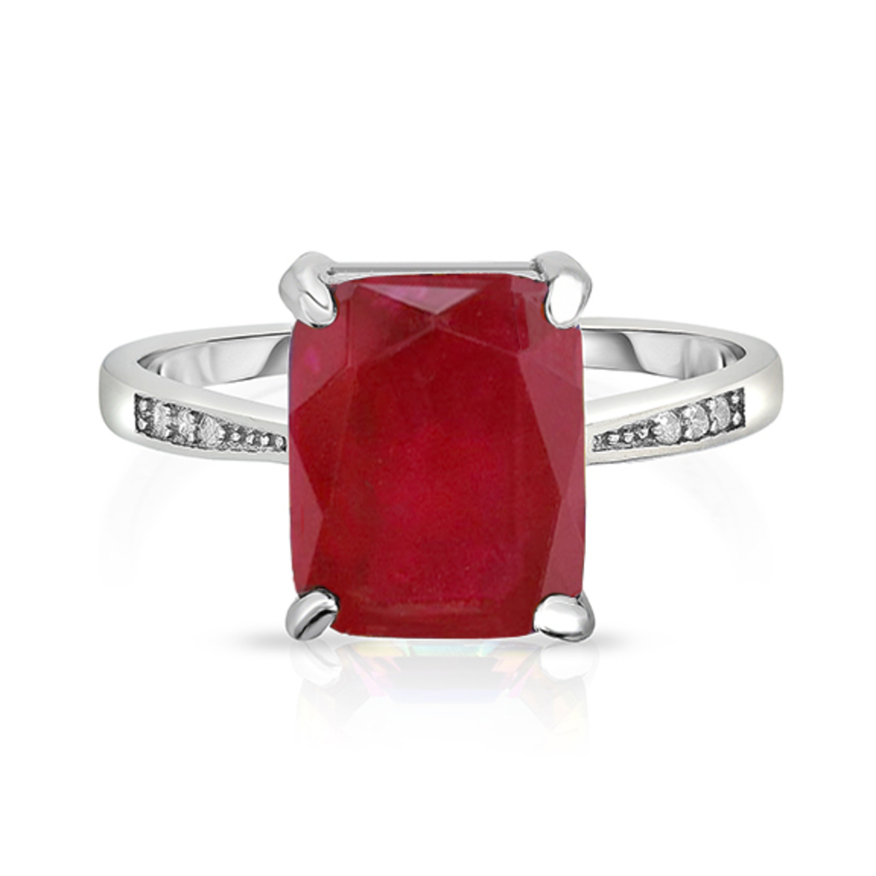 4.00 Cttw Genuine Ruby Emerald Cut Ring In Sterling Silver 6