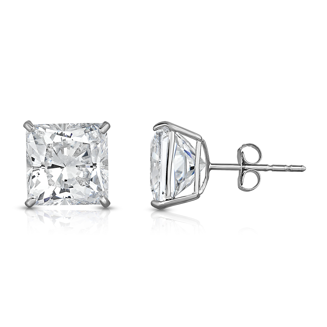 4.00 Cttw Princess Cut Swarovski Elements Crystal Studs Solid Sterling Silver