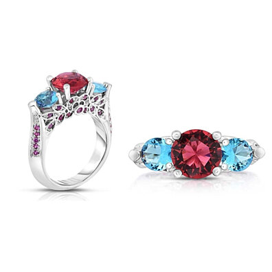 4.00 CTTW Ruby And Sapphire Cubic Zirconia Ring in 18K White Gold