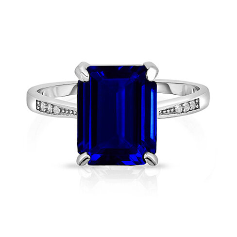 4.00 CTTW Sapphire Emerald Cut Ring in Sterling Silver