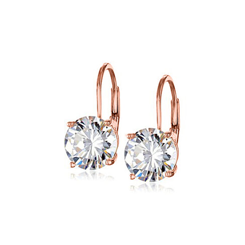 4.00 CTTW Swarovski Crystal Leverback Earrings  In Rose Gold