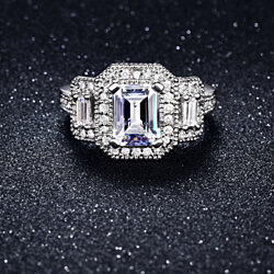 18k White Gold Plated Ring With Emerald Cut Stone & Micropave