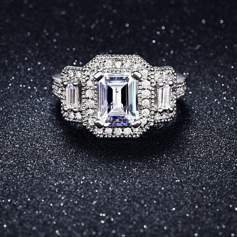 4.00 CTTW Tri Stone Emerald Cut Ring in White Gold