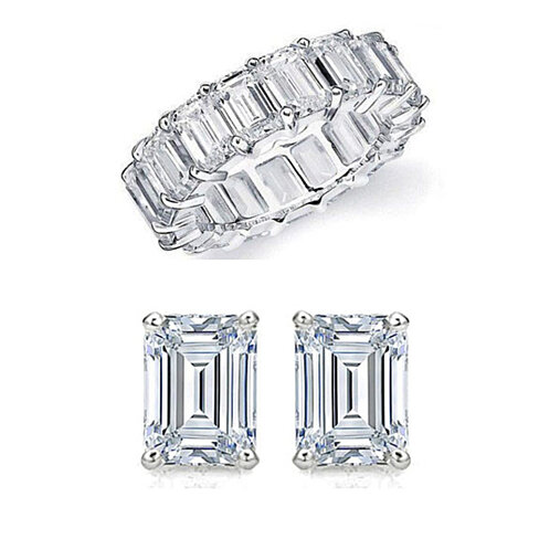 4 CTTW Emerald Cut Eternity Band And Stud Set
