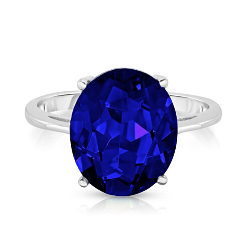 5.00 CTTW Sapphire Oval Cut Sterling Silver Ring