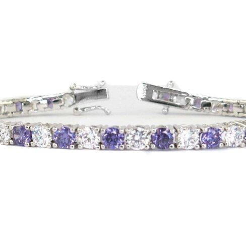 11.00 CTW Amethyst and White Simulated Diamond Tennis Bracelet in 18k White Gold