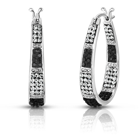 Black and White Swarovski Elements Crystal Striped Hoops