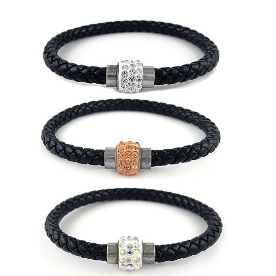 Buy Black Genuine Leather And Swarovski Elements Crystal Magnetic