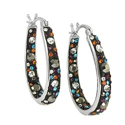 Black Multi Color Swarovski elements Graduated Crystal Hoops
