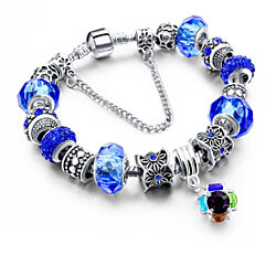 Blue Swarovski Elements Crystal And Charm Hanging Ball Bracelet