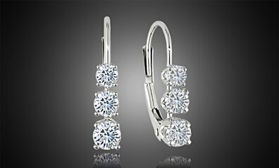 Graduated Swarovski Elements Crystal Leverback Earrings in 18kt White Gold