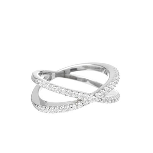 18Kt White Gold Plated Micropave Crossover Ring