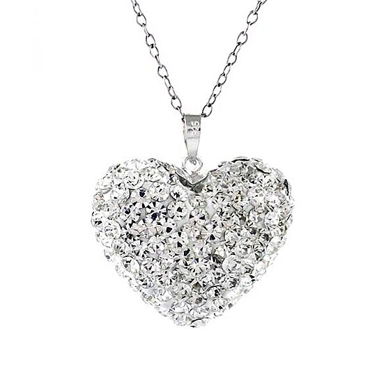 747939949be Trending product! This item has been added to cart 63 times in the last 24  hours. Sterling Silver Swarovski Elements Crystal Bubble Heart Pendant