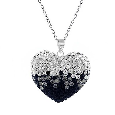 Black And White Swarovski Elements Crystal Bubble Heart Pendant