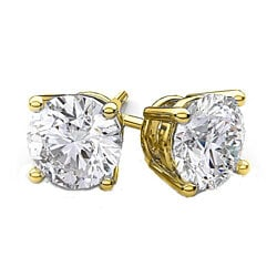 Solid 14K Gold Earrings with Swarovski Elements Crystals (Multiple Sizes)