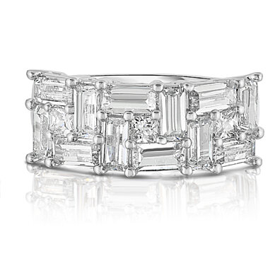 Fancy Emerald Cut Simulated Diamond Ring in 18k White Gold