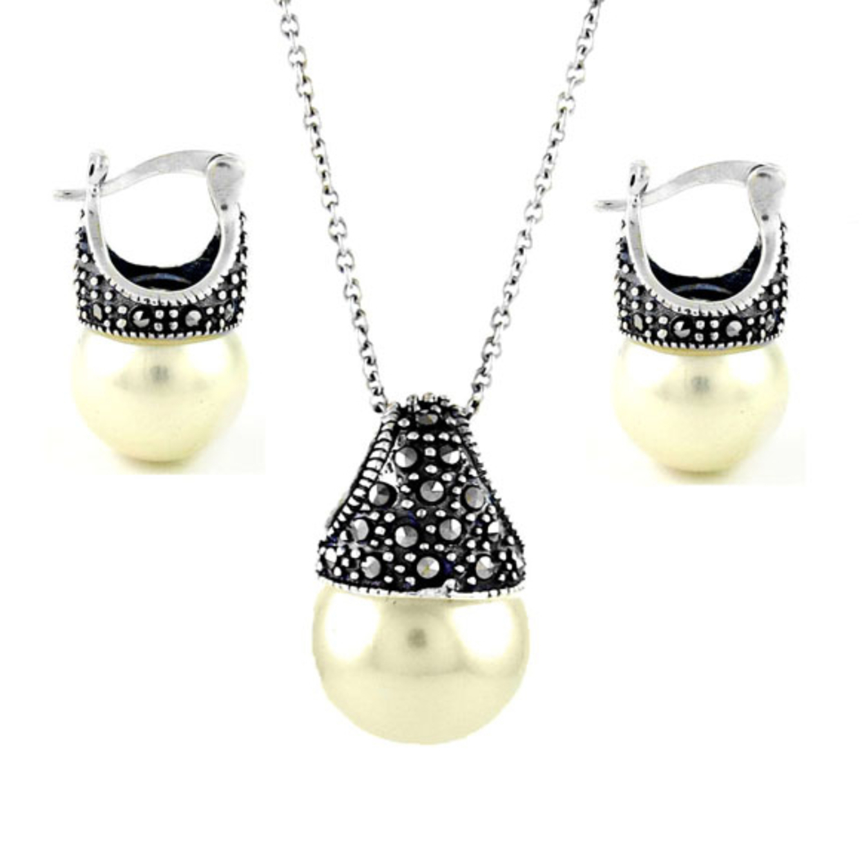 Genuine Marcasite And Sterling Silver Pearl Earring And Necklace Set White