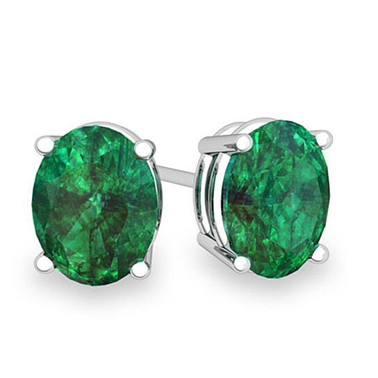 Genuine Oval Cut Emerald Studs Set