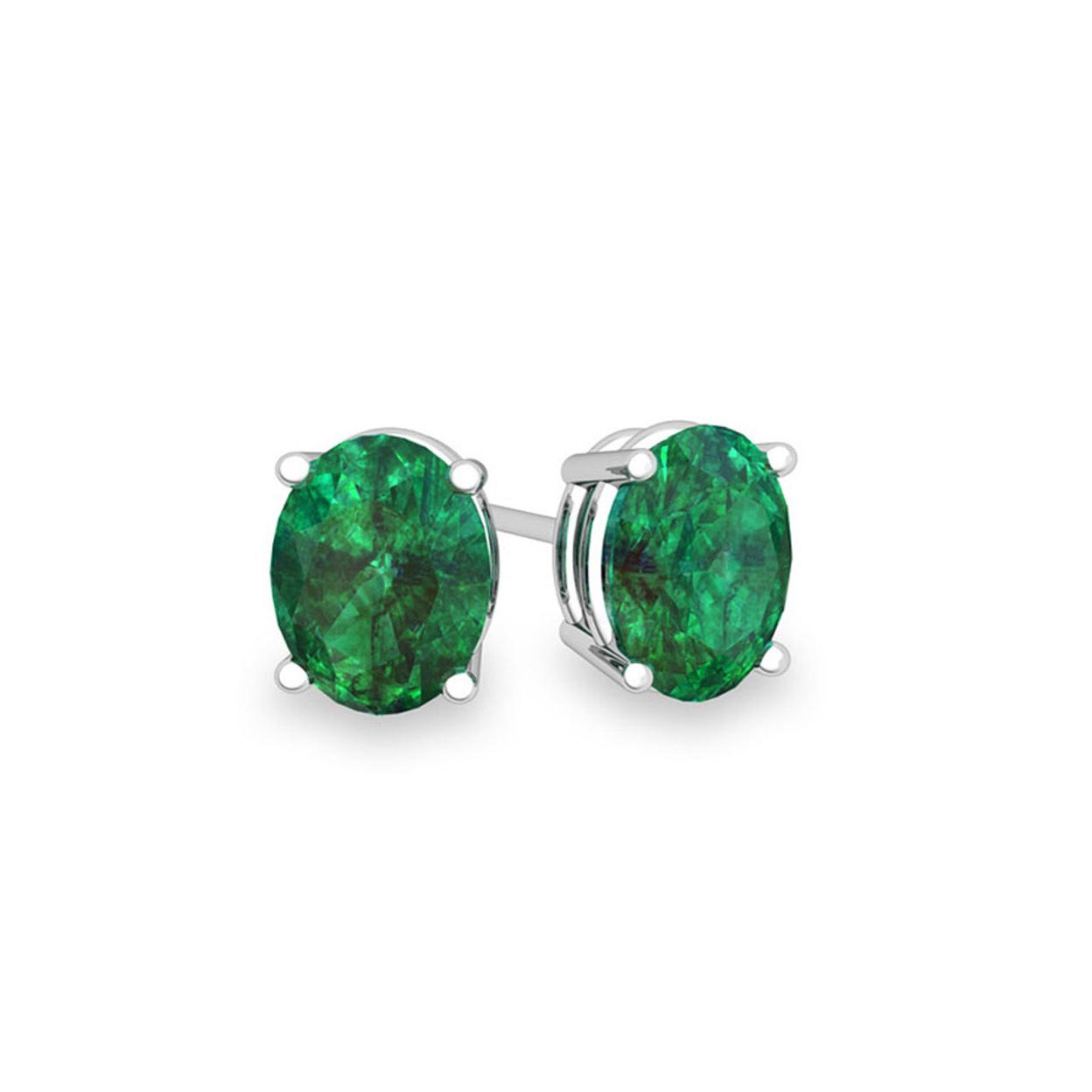 Genuine Oval Cut Emerald Studs Set In Sterling Silver