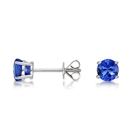 Genuine Tanzanite Round Sterling Silver Studs