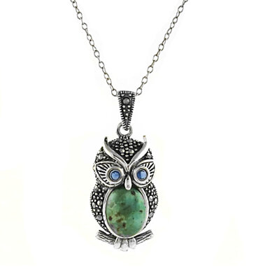 Genuine Turquoise And Marcasite Sterling Silver Owl Pendant