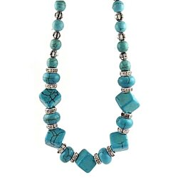 ce414a8a6 Genuine Turquoise and Swarovski Elements crystal Necklace