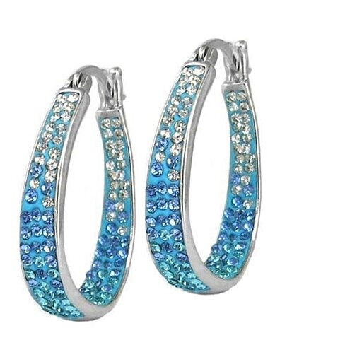 Inside Out Blue Ombre Austrian Crystal Studded Hoops