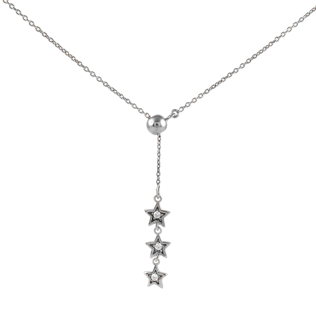 """Italian Solid Sterling Silver 24\"""" Star Drop Lariat Necklace Silver"""