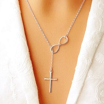 Italian Infinity Cross Lariat Necklace in Solid Sterling Silver, 18k Gold, or Rose Gold