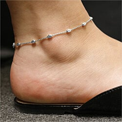 Italian Sterling Silver Station Moon Anklets