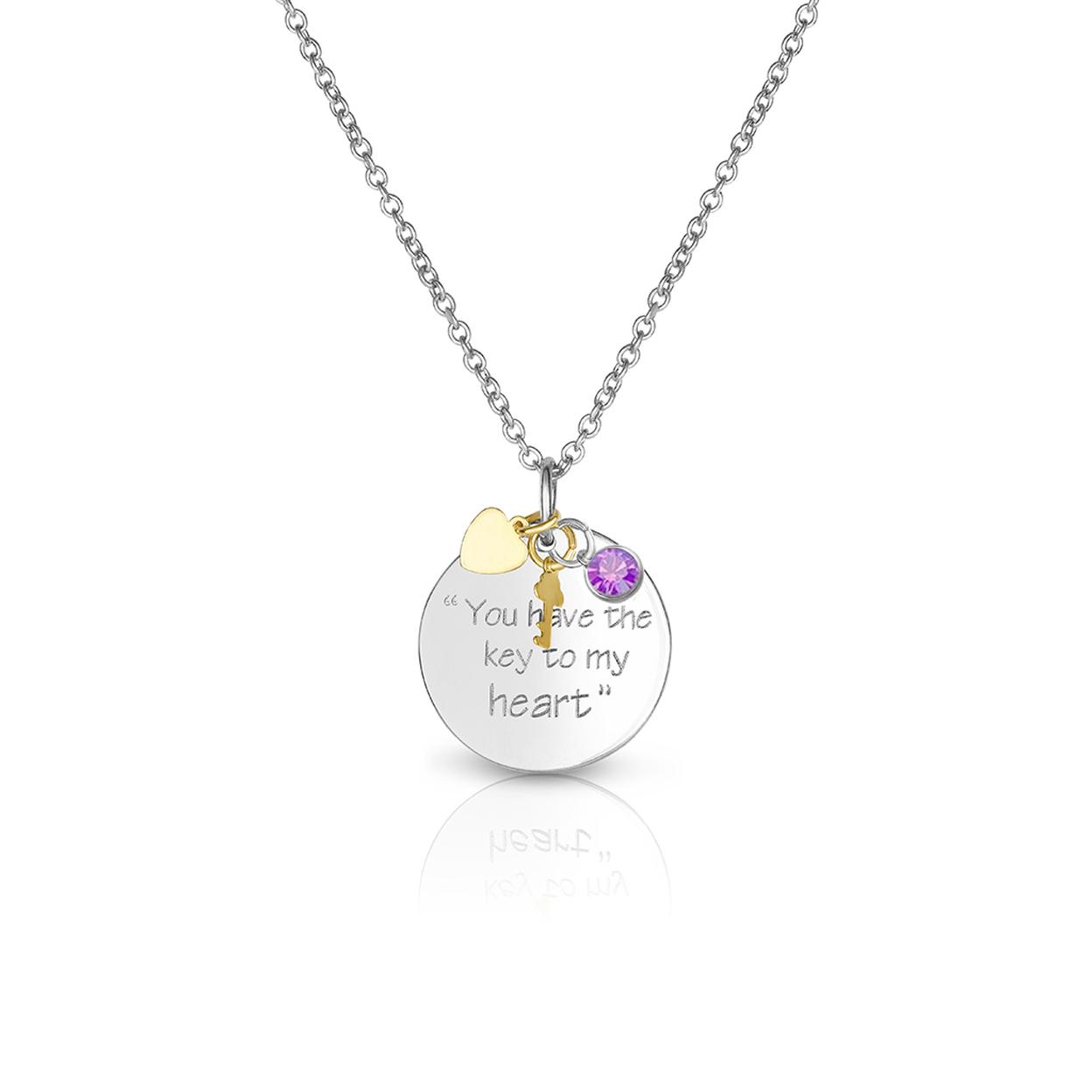 Light Amethyst June Swarovski Elements Crystal Birthstone Key To My Heart Necklace