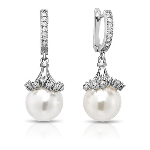 Micropave Pearl Drop Earrings In 18K White Gold